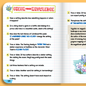 setting, story, poem, check for learning, quiz, review questions, test