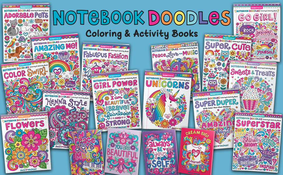 coloring notebook, craft a doodle, craft books for teen girls, crafts for teen girls, glitter pens