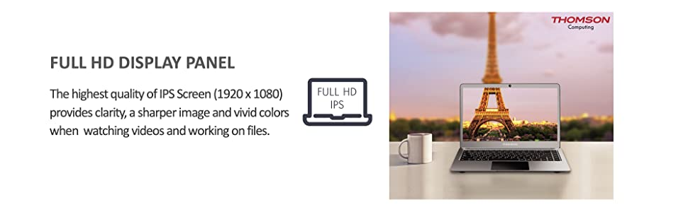 full HD display panel, 1920x1080, provides clarity, sharper images and vivid colors for work, home